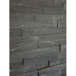 """Akmens panelė """"Tajo Black"""" 15x60 cm, m2 (S-forma)"""